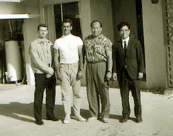From the Hawaiian Karate Museum, John D. Pell collection. John Pell, Don Buck, Mas Oyama, Gosei Yamaguchi.